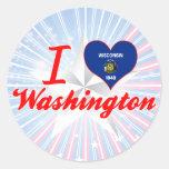 Amo Washington, Wisconsin Etiquetas Redondas