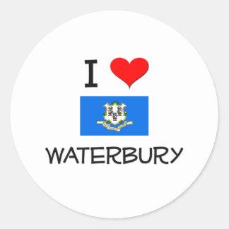 Amo Waterbury Connecticut Pegatina Redonda