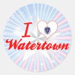 Amo Watertown, Massachusetts Etiquetas Redondas