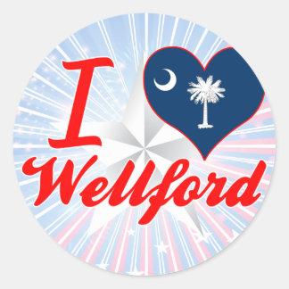 Amo Wellford, Carolina del Sur Pegatina Redonda