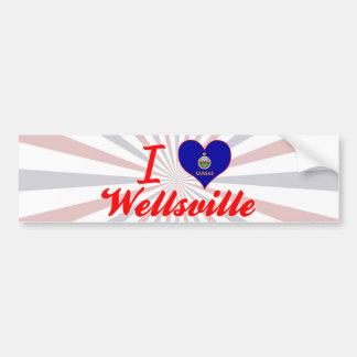 Amo Wellsville, Kansas Pegatina Para Auto