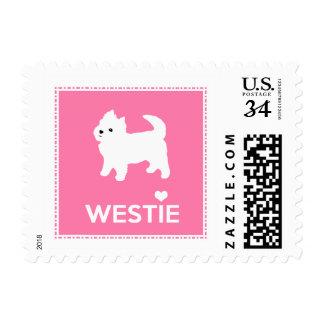 ¡Amo Westies!  Montaña Terrier blanco del oeste Timbres Postales