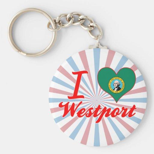 Amo Westport, Washington Llaveros Personalizados