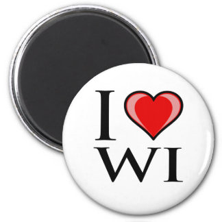 Amo WI - Wisconsin Imán Redondo 5 Cm