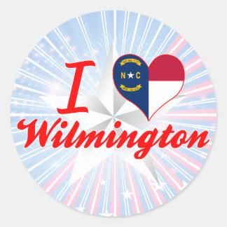 Amo Wilmington, Carolina del Norte Pegatina Redonda