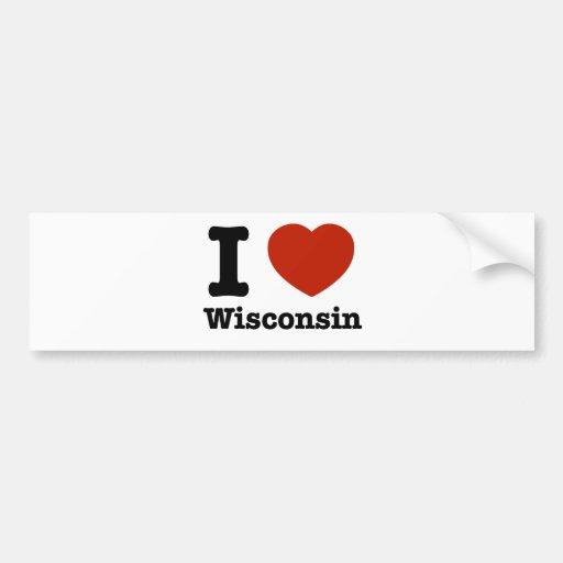 Amo Wisconsin Pegatina Para Auto