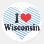 Amo Wisconsin Pegatina Redonda