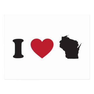Amo Wisconsin Tarjeta Postal