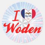 Amo Woden, Iowa Pegatinas Redondas
