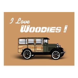 ¡Amo Woodies Tarjeta Postal