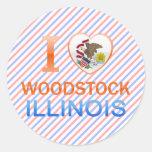 Amo Woodstock, IL Pegatina Redonda