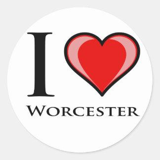 Amo Worcester Pegatina Redonda