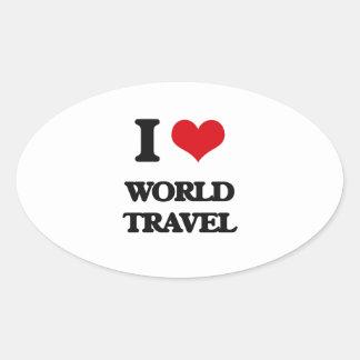 Amo World Travel Pegatina Ovalada