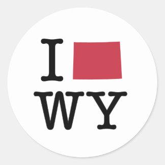 Amo Wyoming Pegatina Redonda