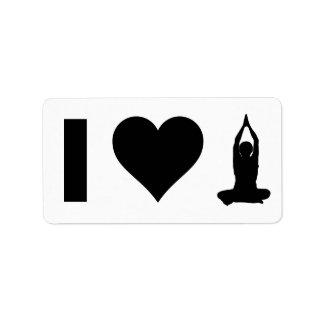 Amo yoga etiqueta de dirección