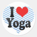 Amo yoga etiqueta redonda