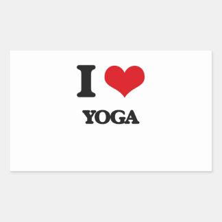 Amo yoga pegatina rectangular