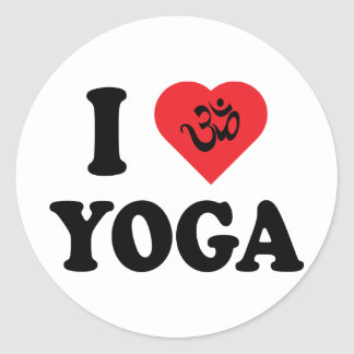 Amo yoga pegatina redonda