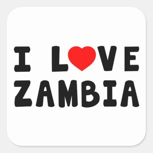 Amo Zambia Calcomanía Cuadrada
