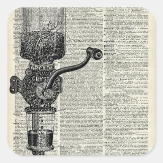 Amoladora de café del vintage pegatina cuadrada