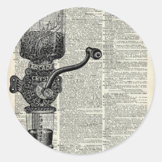 Amoladora de café del vintage pegatina redonda
