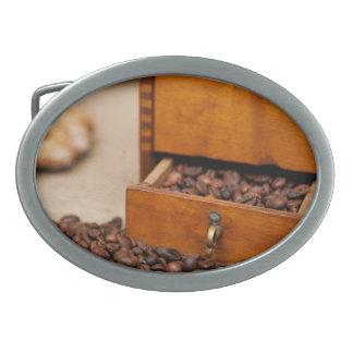 Amoladora de café vieja hebilla de cinturon oval