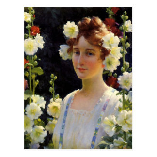 Among the Hollyhocks by Charles Courtney Curran Postcard