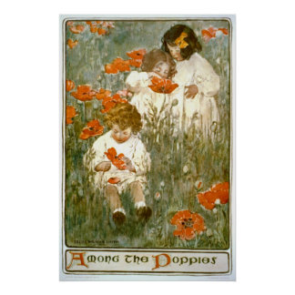 Among the Poppies 1904 Poster