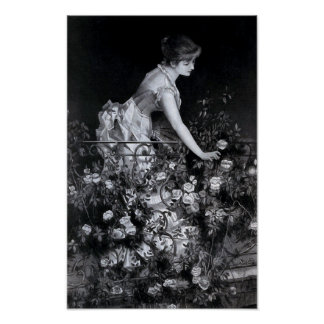 """""""Among the Roses"""" Vintage Illustration Poster"""