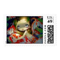 artsprojekt, art, fantasy, daydream, koi, fish, koi mermaid, koi fish, goldfish, koi pond, pond, pool, stream, water, fishes, lily, lilypad, lilies, waterlilies, lily pool, lilypads, lotus, lotuses, mermaid, mermaids, eye, eyes, big eye, big eyed, jasmine, becket-griffith, becket, griffith, jasmine becket-griffith, jasmin, strangeling, artist, goth, gothic, Selo postal com design gráfico personalizado
