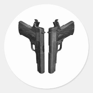 Amontonado y cargado 1911 pistolas pegatina redonda