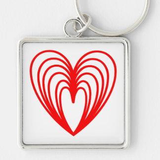 Amontonamiento de corazones rojos llavero cuadrado plateado