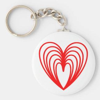 Amontonamiento de corazones rojos llavero redondo tipo pin
