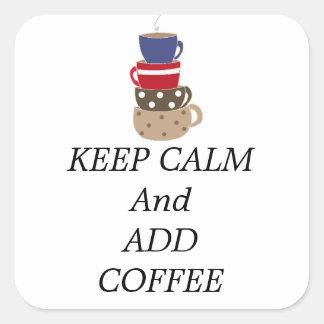 Amontonamiento de las tazas de café calcomanias cuadradas