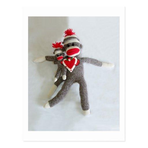 Amor #1 del mono del calcetín tarjetas postales