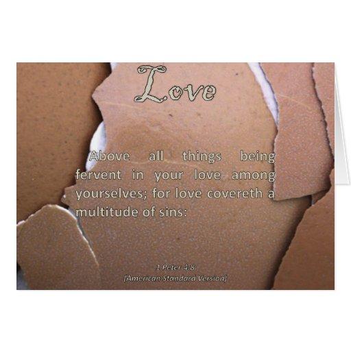 Amor 1 Peter 4-8 Tarjeta
