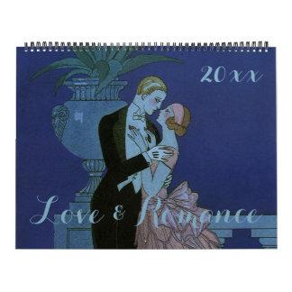 Amor 2016 y romance del ejemplo del vintage calendarios