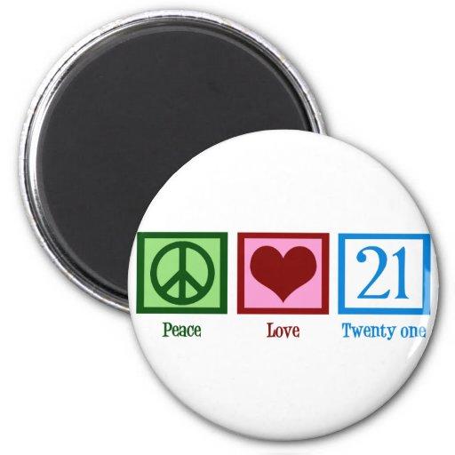 Amor 21 de la paz imanes para frigoríficos