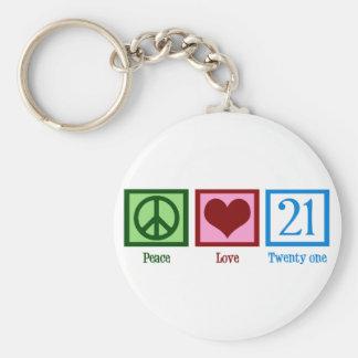 Amor 21 de la paz llaveros personalizados
