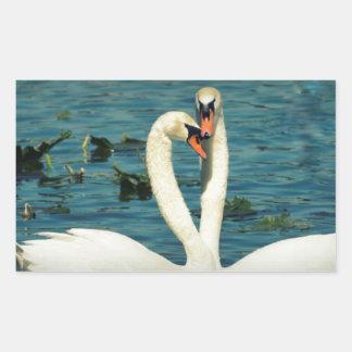 Amor 2 del cisne pegatina rectangular