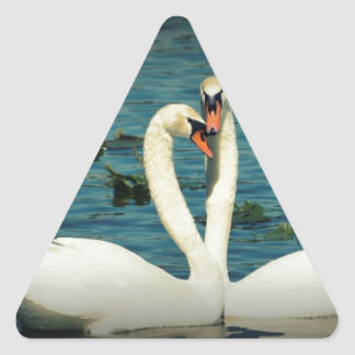 Amor 2 del cisne pegatina triangular
