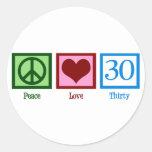 Amor 30 de la paz pegatinas redondas