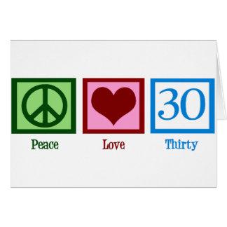 Amor 30 de la paz tarjeta de felicitación