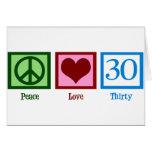 Amor 30 de la paz tarjetón