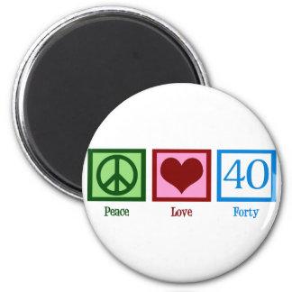 Amor 40 de la paz imán redondo 5 cm