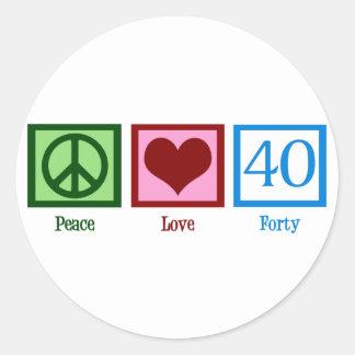 Amor 40 de la paz pegatina redonda