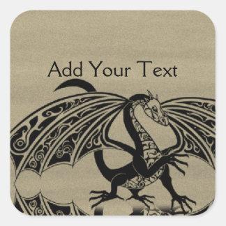 Amor 4 del dragón calcomanía cuadradas personalizada