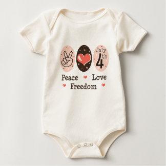 Amor 4to de la paz de la enredadera infantil mameluco de bebé