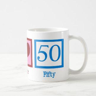 Amor 50 de la paz tazas de café