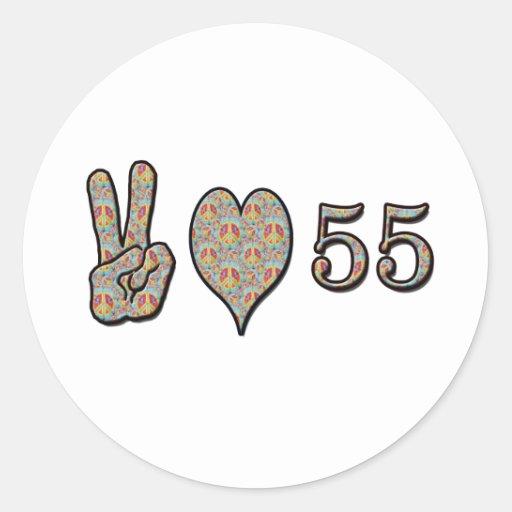 Amor 55 de la paz pegatina redonda